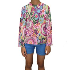 Colorful Flower Pattern Kids  Long Sleeve Swimwear by Brittlevirginclothing