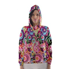 Colorful Flower Pattern Hooded Wind Breaker (women) by Brittlevirginclothing
