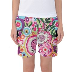 Colorful Flower Pattern Women s Basketball Shorts by Brittlevirginclothing