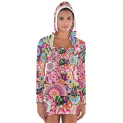 Colorful Flower Pattern Women s Long Sleeve Hooded T Shirt by Brittlevirginclothing
