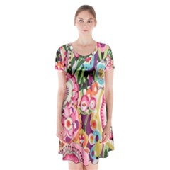 Colorful Flower Pattern Short Sleeve V Neck Flare Dress by Brittlevirginclothing