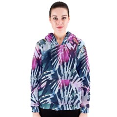 Colorful Palm Pattern Women s Zipper Hoodie by Brittlevirginclothing