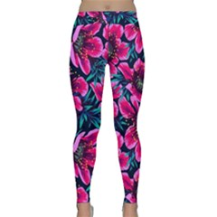 Purple Flowers Classic Yoga Leggings by Brittlevirginclothing
