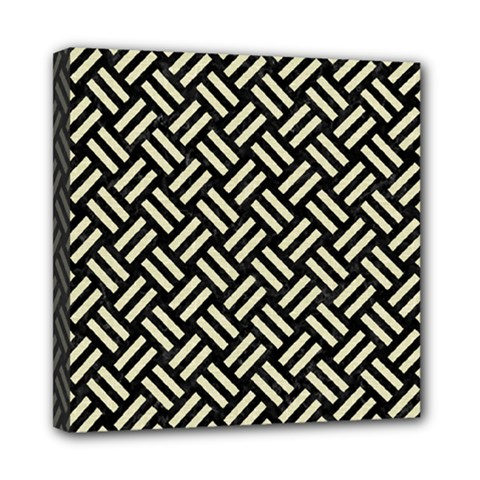 Woven2 Black Marble & Beige Linen Mini Canvas 8  X 8  (stretched) by trendistuff