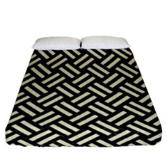 Woven2 Black Marble & Beige Linen Fitted Sheet (queen Size) by trendistuff