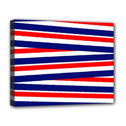 Red White Blue Patriotic Ribbons Deluxe Canvas 20  X 16   by Nexatart
