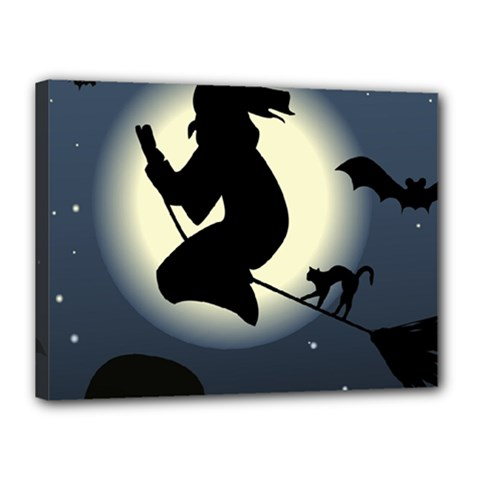 Halloween Card With Witch Vector Clipart Canvas 16  X 12  by Nexatart