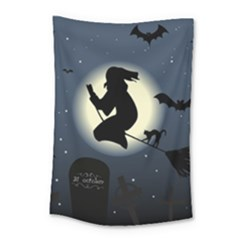 Halloween Card With Witch Vector Clipart Small Tapestry by Nexatart