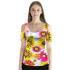 Flowers Blossom Bloom Nature Plant Butterfly Sleeve Cutout Tee  by Nexatart