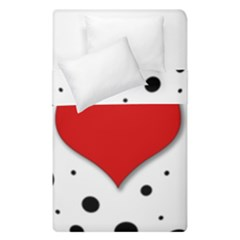 Red Heart Duvet Cover Double Side (single Size) by Valentinaart
