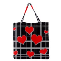 Red Hearts Pattern Grocery Tote Bag by Valentinaart
