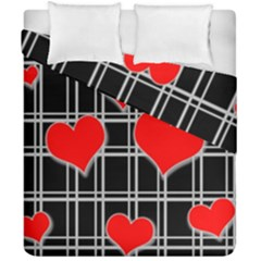 Red Hearts Pattern Duvet Cover Double Side (california King Size) by Valentinaart