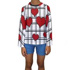 Hearts Pattern Kids  Long Sleeve Swimwear