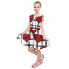 Hearts Pattern Kids  Short Sleeve Dress by Valentinaart