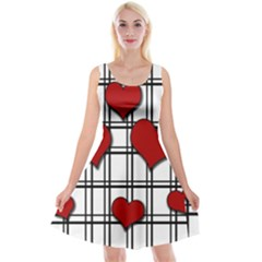 Hearts Pattern Reversible Velvet Sleeveless Dress by Valentinaart