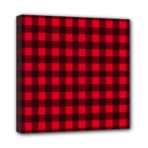 Red And Black Plaid Pattern Mini Canvas 8  X 8  by Valentinaart