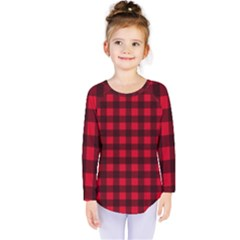 Red And Black Plaid Pattern Kids  Long Sleeve Tee by Valentinaart