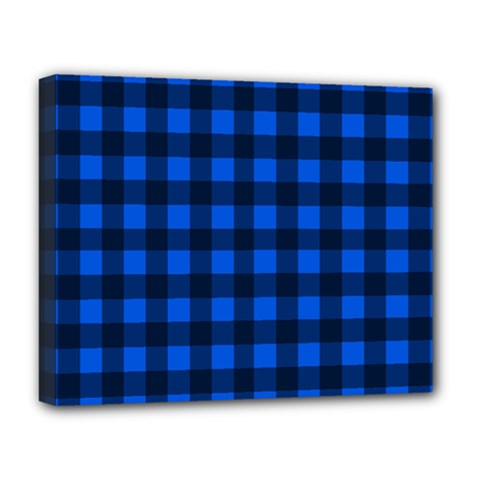 Blue And Black Plaid Pattern Deluxe Canvas 20  X 16   by Valentinaart