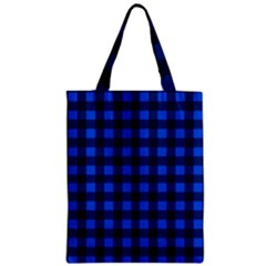 Blue And Black Plaid Pattern Zipper Classic Tote Bag by Valentinaart