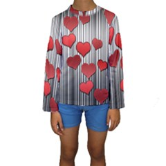 Valentines Day Pattern Kids  Long Sleeve Swimwear