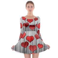 Valentines Day Pattern Long Sleeve Skater Dress by Valentinaart