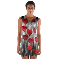 Valentines Day Pattern Wrap Front Bodycon Dress by Valentinaart