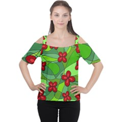 Flowers Women s Cutout Shoulder Tee by Valentinaart