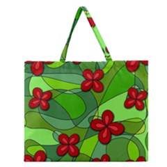 Flowers Zipper Large Tote Bag by Valentinaart