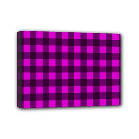 Magenta And Black Plaid Pattern Mini Canvas 7  X 5  by Valentinaart