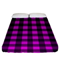 Magenta And Black Plaid Pattern Fitted Sheet (king Size) by Valentinaart