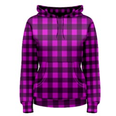 Magenta And Black Plaid Pattern Women s Pullover Hoodie