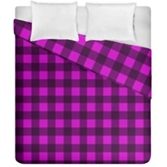 Magenta And Black Plaid Pattern Duvet Cover Double Side (california King Size) by Valentinaart
