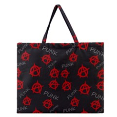 Anarchy Pattern Zipper Large Tote Bag by Valentinaart
