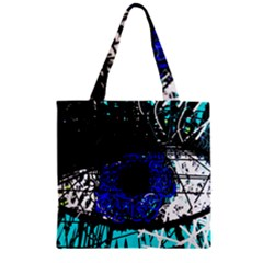 Blue Eye Zipper Grocery Tote Bag