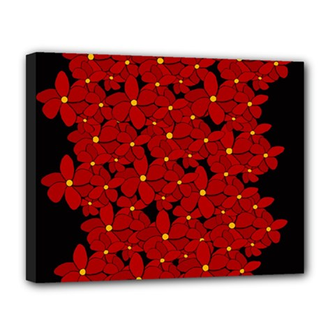Red Bouquet  Canvas 14  X 11  by Valentinaart
