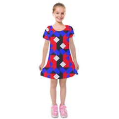 Pattern Abstract Artwork Kids  Short Sleeve Velvet Dress by Nexatart