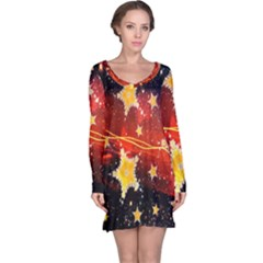 Holiday Space Long Sleeve Nightdress by Nexatart