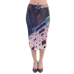 Industry Fractals Geometry Graphic Velvet Midi Pencil Skirt by Nexatart
