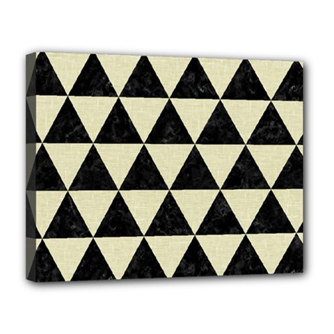 Triangle3 Black Marble & Beige Linen Canvas 14  X 11  (stretched) by trendistuff