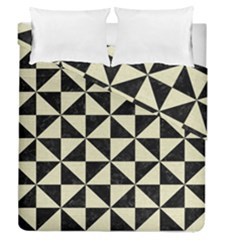 Triangle1 Black Marble & Beige Linen Duvet Cover Double Side (queen Size)