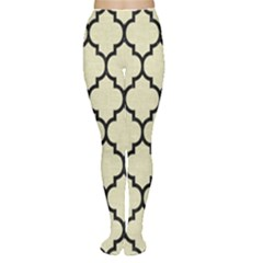 Tile1 Black Marble & Beige Linen (r) Tights by trendistuff