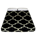 TILE1 BLACK MARBLE & BEIGE LINEN Fitted Sheet (King Size) View1