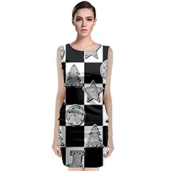 Xmas Checker Sleeveless Velvet Midi Dress