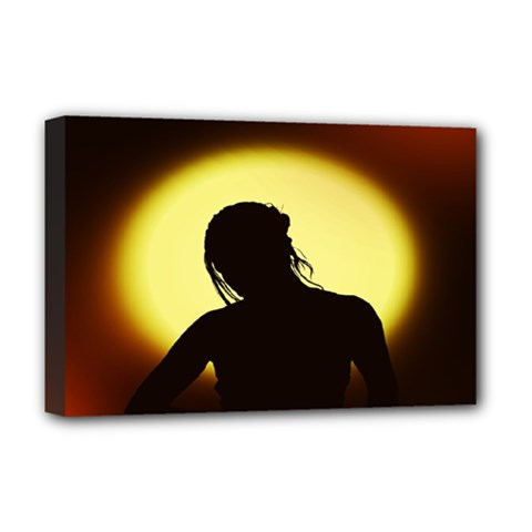 Silhouette Woman Meditation Deluxe Canvas 18  X 12   by Nexatart