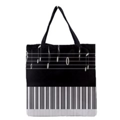 Piano Keyboard With Notes Vector Grocery Tote Bag by Nexatart