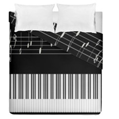 Piano Keyboard With Notes Vector Duvet Cover Double Side (queen Size)