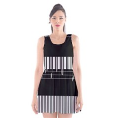 Piano Keyboard With Notes Vector Scoop Neck Skater Dress by Nexatart
