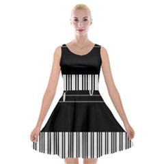 Piano Keyboard With Notes Vector Velvet Skater Dress