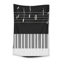 Piano Keyboard With Notes Vector Small Tapestry by Nexatart