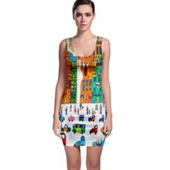 Painted Autos City Skyscrapers Sleeveless Bodycon Dress